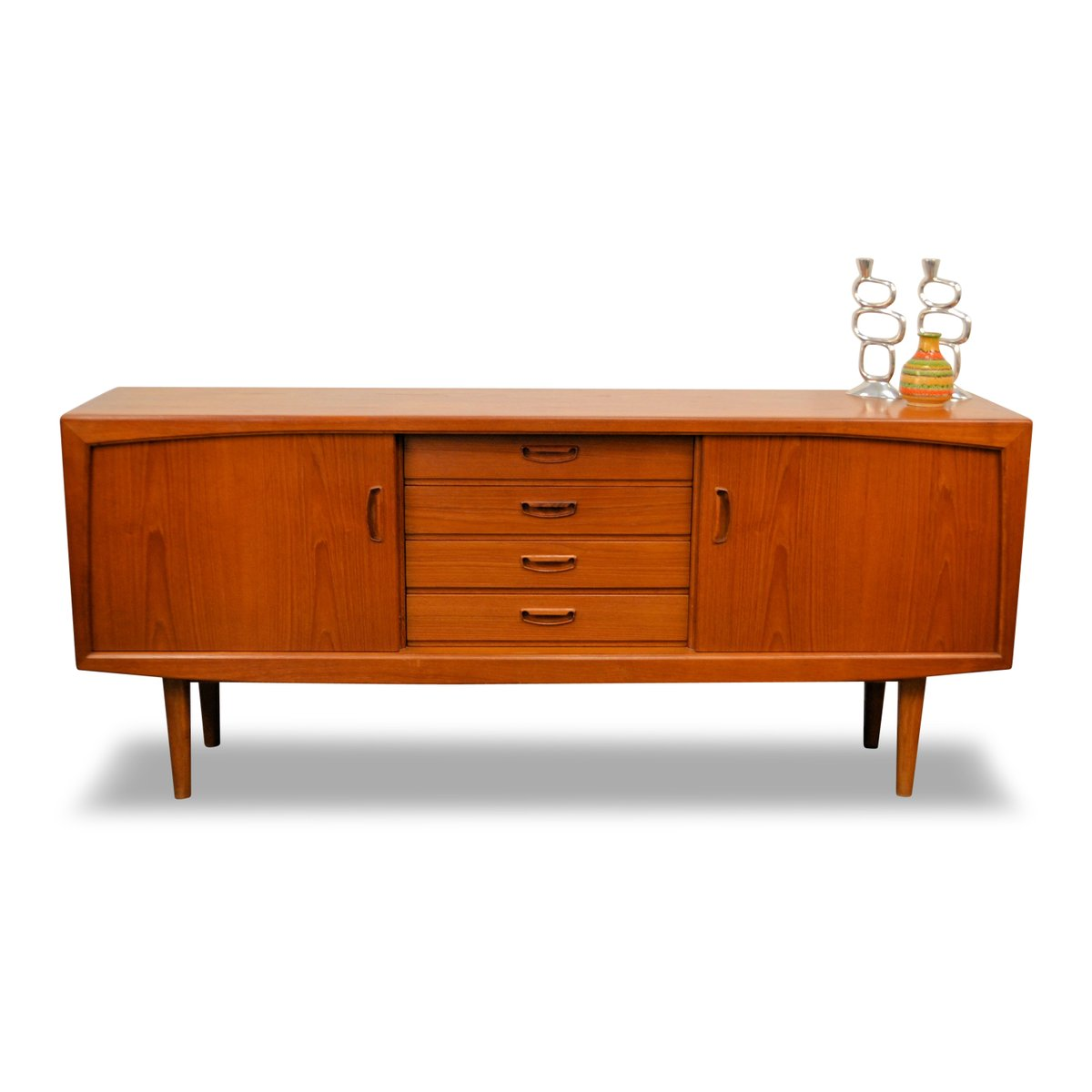 mid century danish teak sideboard with sliding doors. Black Bedroom Furniture Sets. Home Design Ideas