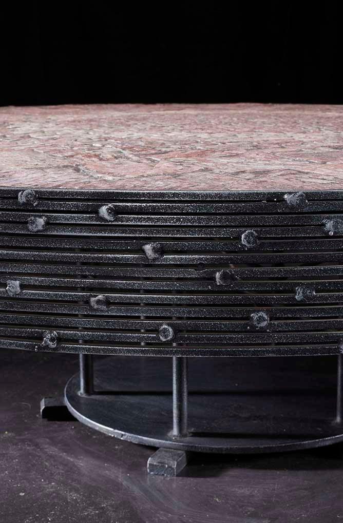 mid-century belgian steel and rose quartz coffee tablepia manu