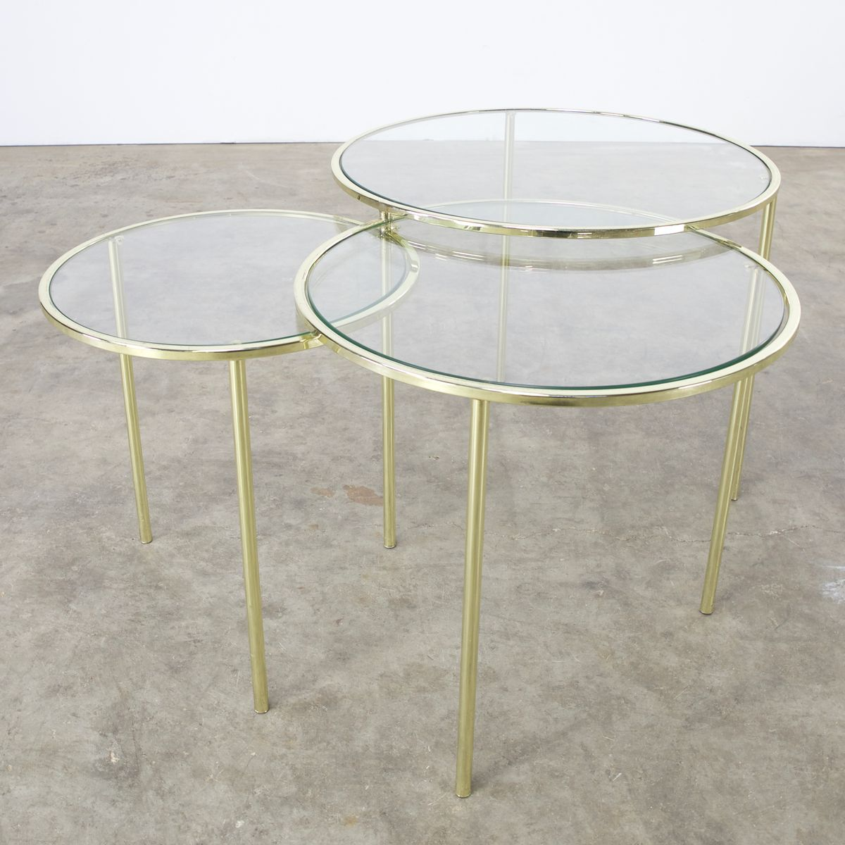 Mid Century Glass And Brass Round Nesting Tables