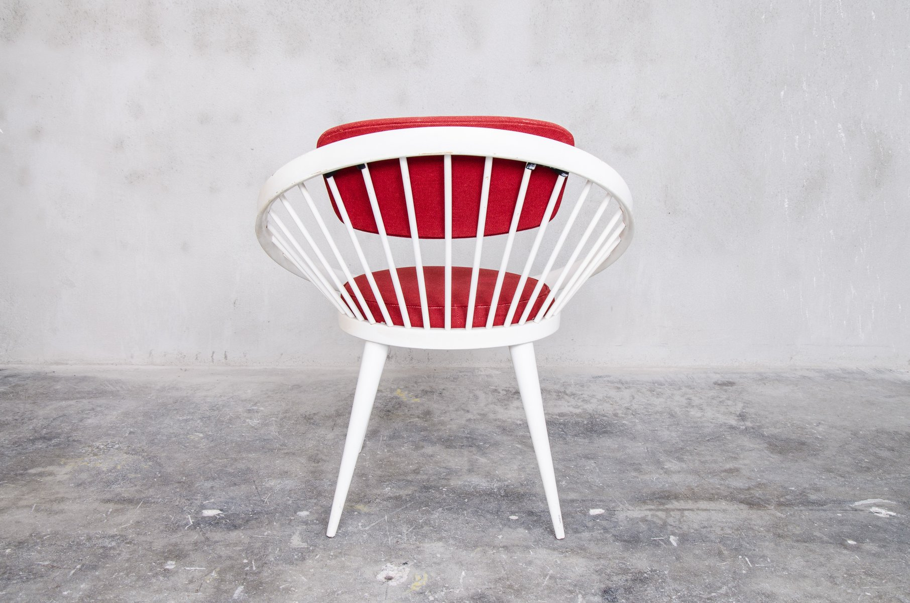 Red & White Circle Chair by Yngve Ekstrom for Swedese 1960s for