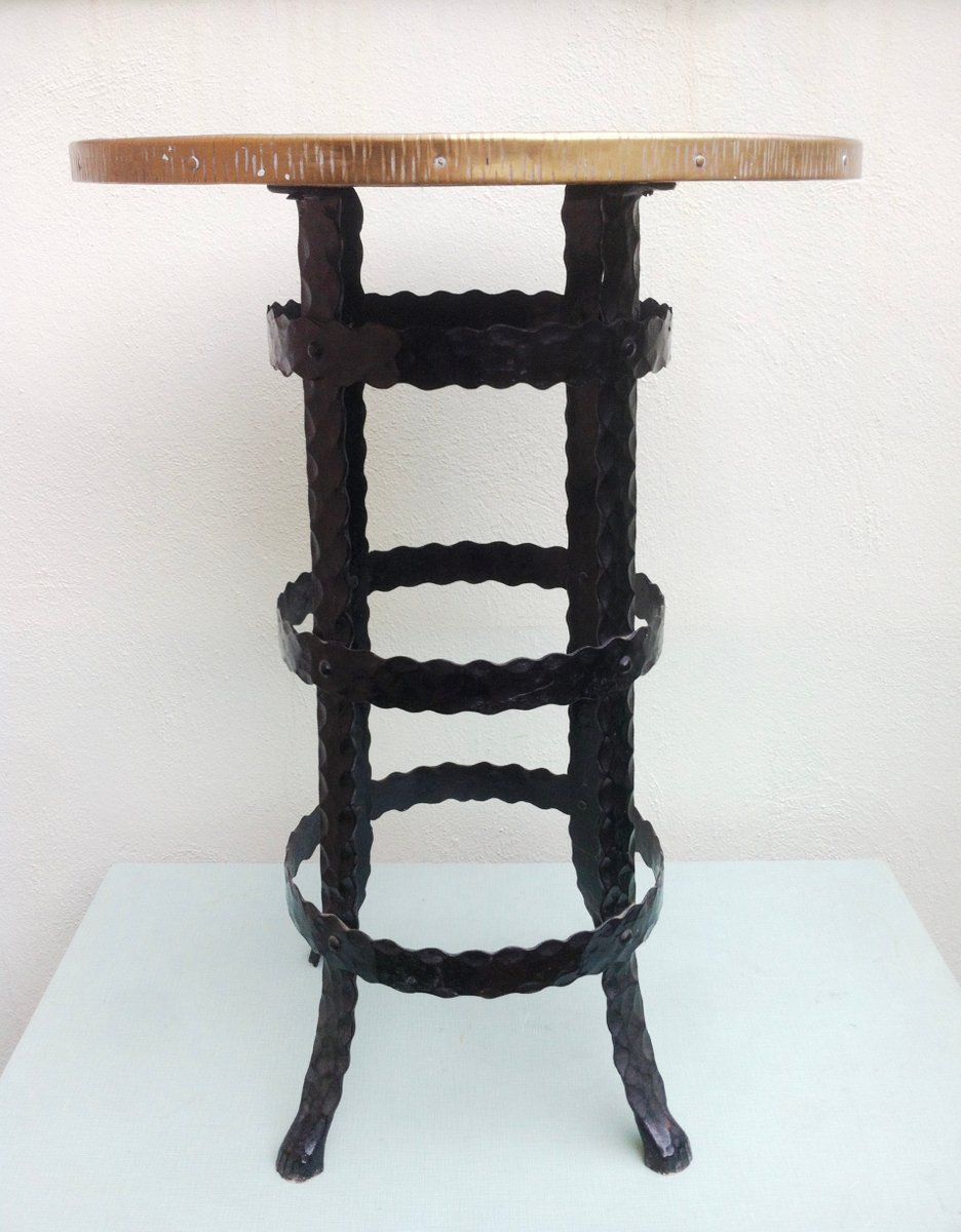 Mid century wrought iron round side table 1950s for sale for Wrought iron side table
