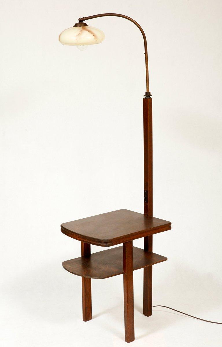 stehlampe mit art deco tisch 1950er bei pamono kaufen. Black Bedroom Furniture Sets. Home Design Ideas