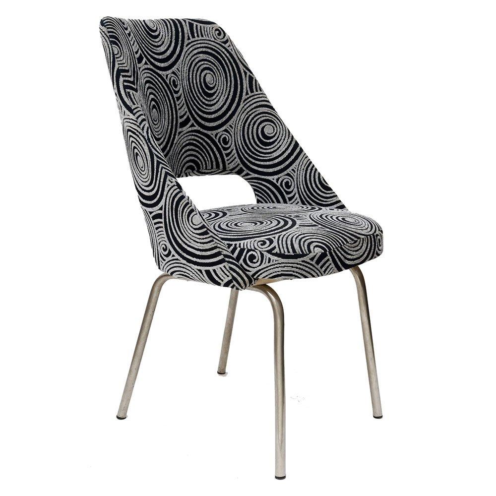 Chaise d\'Appoint Vintage avec Tissu Noir et Blanche en vente sur ...