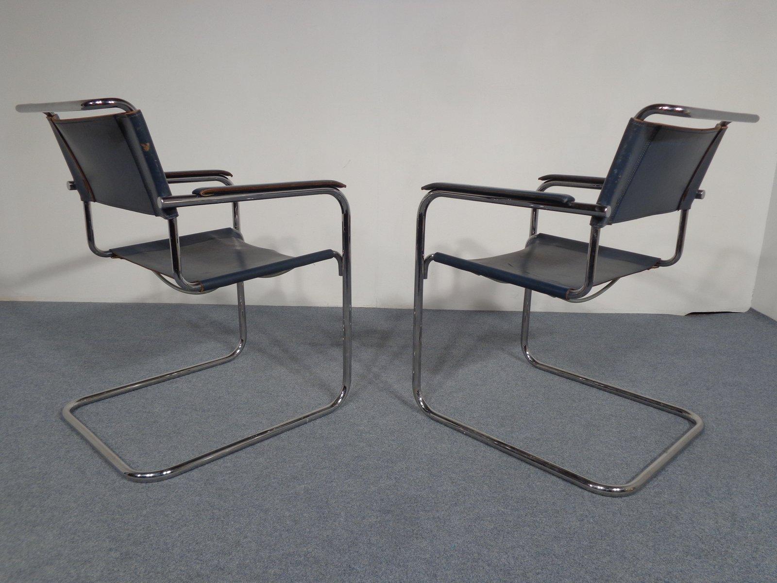 vintage s34 freischwinger leder st hle von mart stam f r. Black Bedroom Furniture Sets. Home Design Ideas