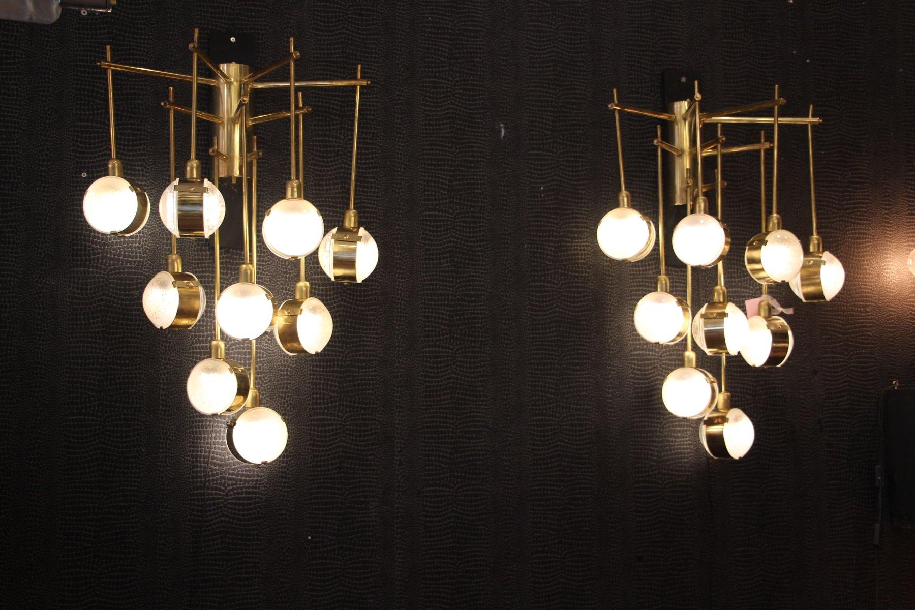 Mid Century Italian Modern Long Brass Amp Glass Chandeliers