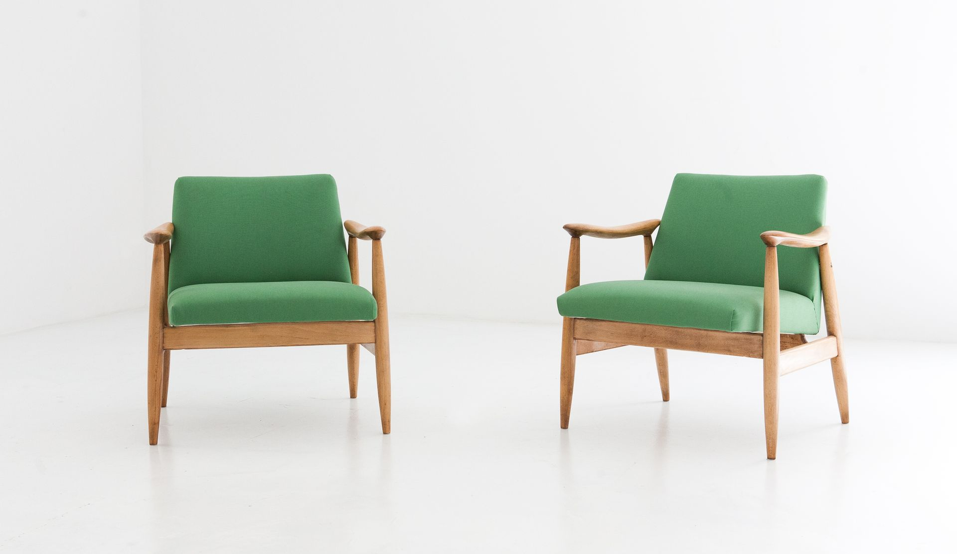 Danish Green Armchairs 1950s Set of 2 for sale at Pamono