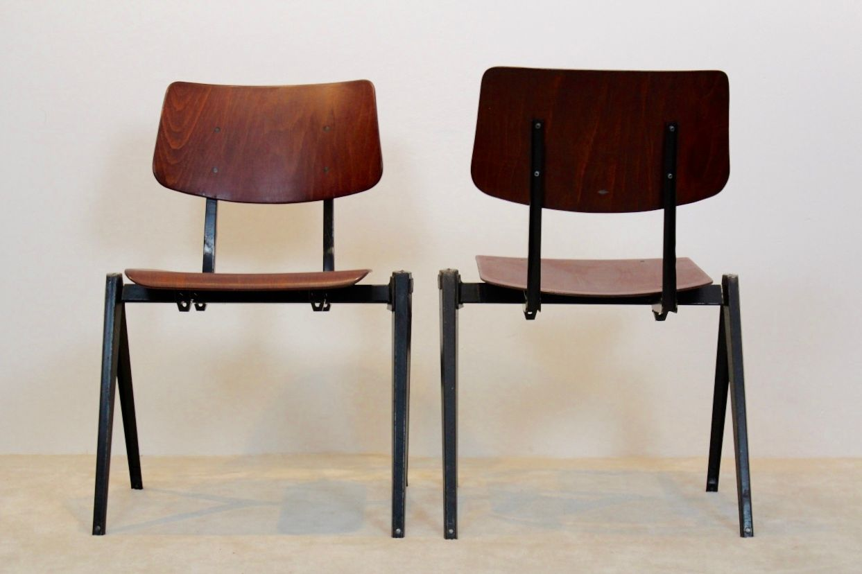 Industrial leather dining chair - Vintage Stackable S16 Industrial Dining Chair From Galvanitas 1960s