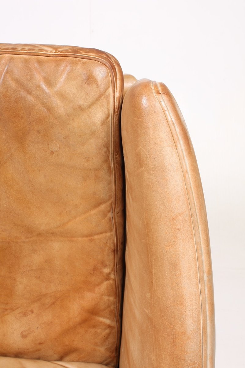 Tan leather rosewood sofa by illum wikkelso for holger for Tan couches for sale
