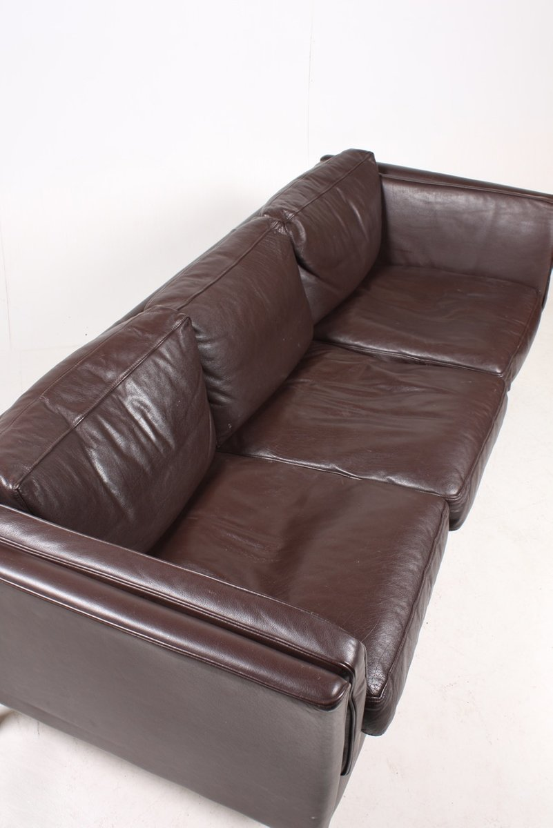 Vintage danish three seater leather sofa 1980s for sale for Leather sofa 7 seater
