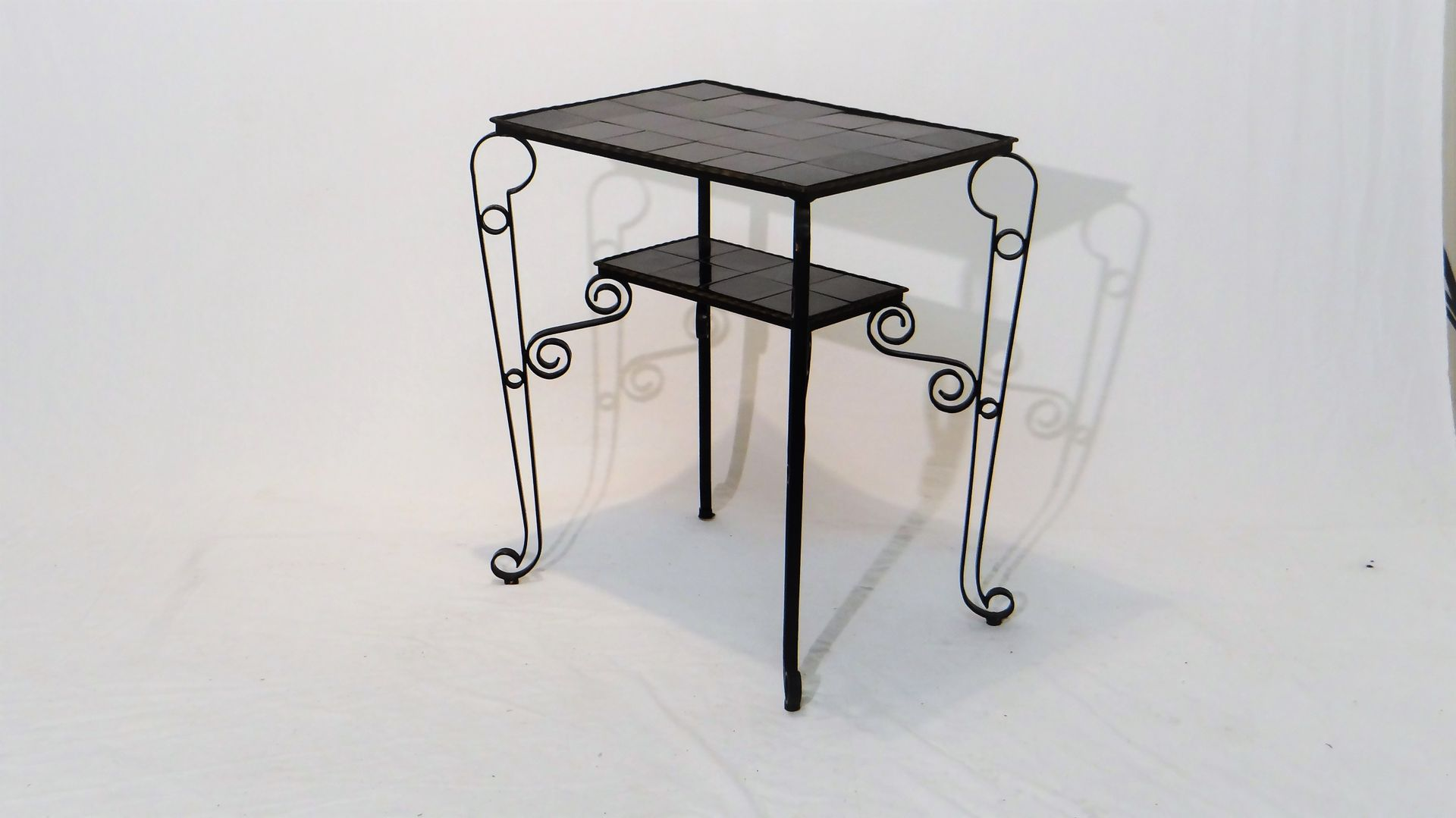Vintage Black Side Table with Scrolled Legs for sale at Pamono
