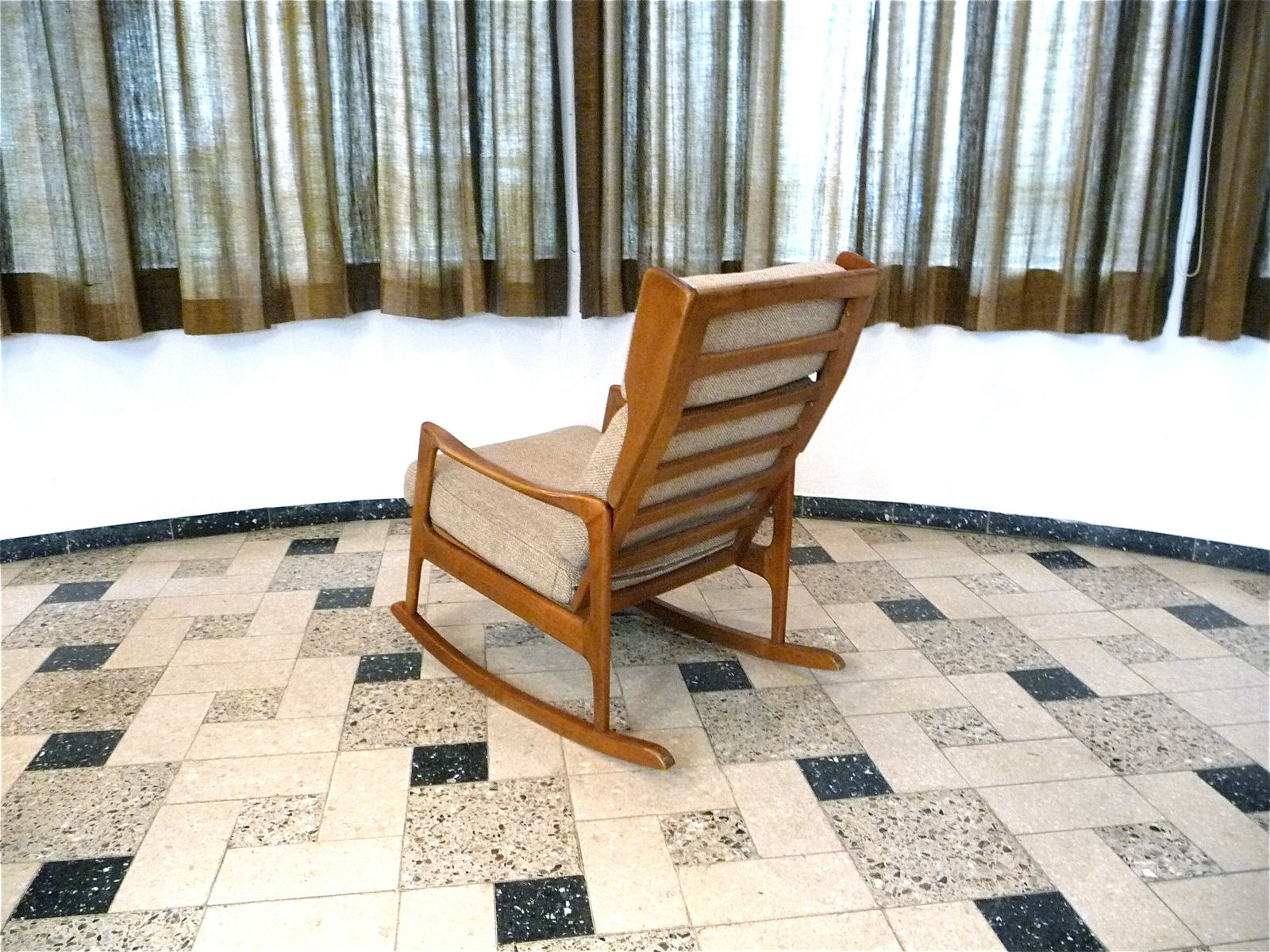 solid wooden rocking chair 1960s 3 previous - Wood Rocking Chair