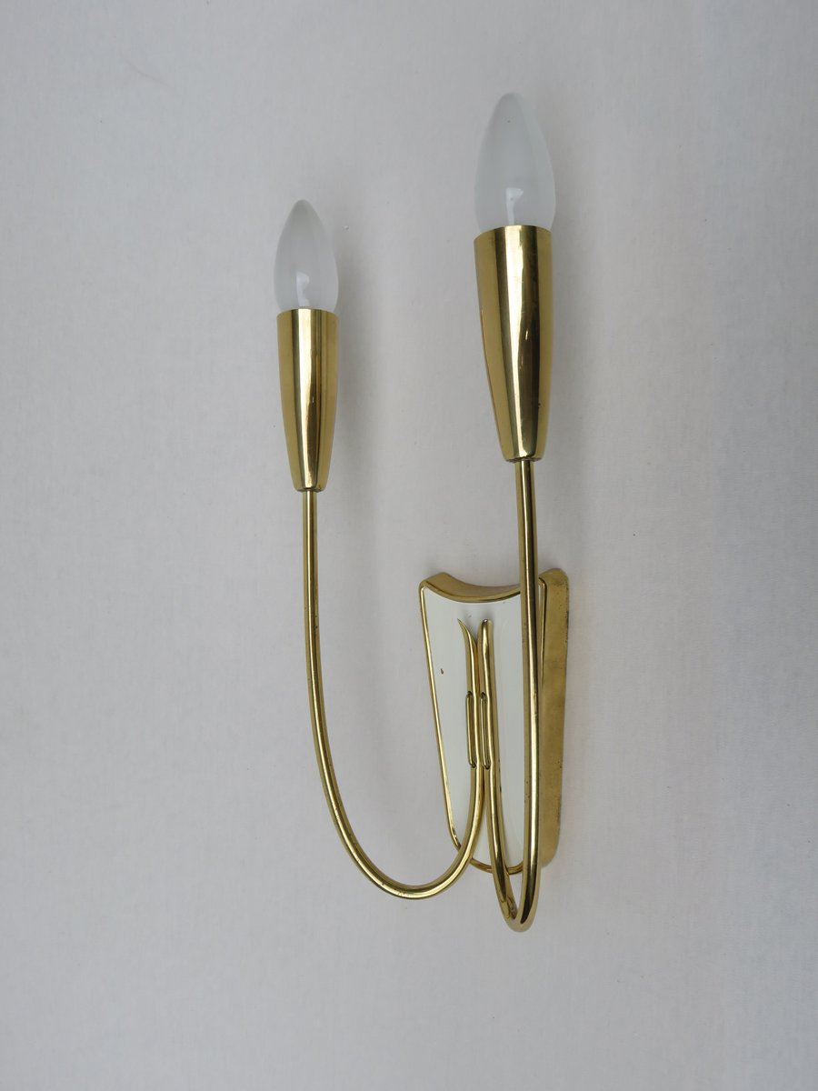 Italian Brass Wall Lights, 1950s, Set of 2 for sale at Pamono