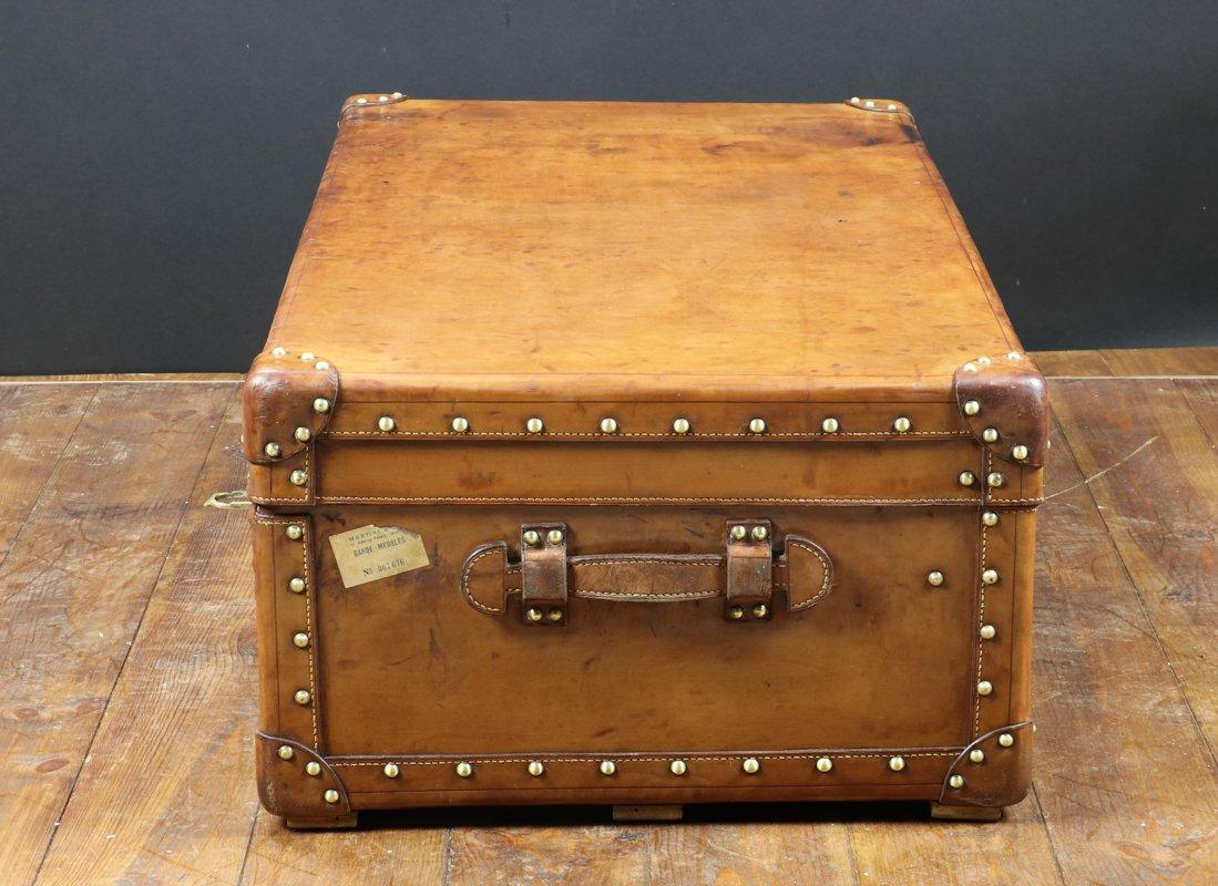 Malle cabine en cuir naturel 1930s en vente sur pamono - Malle en cuir vintage ...