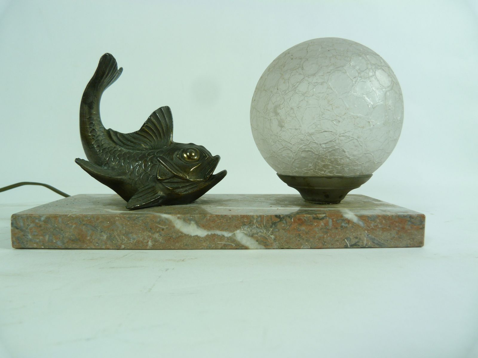 High Quality Art Deco Bronze Fish Table Lamp
