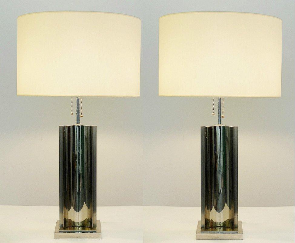Lampade da tavolo vintage in metallo cromato e ottone set - Lampade da tavolo vintage ...