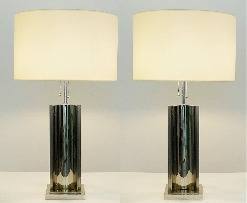 Vintage Chrome And Brass Table Lamps, Set Of 2