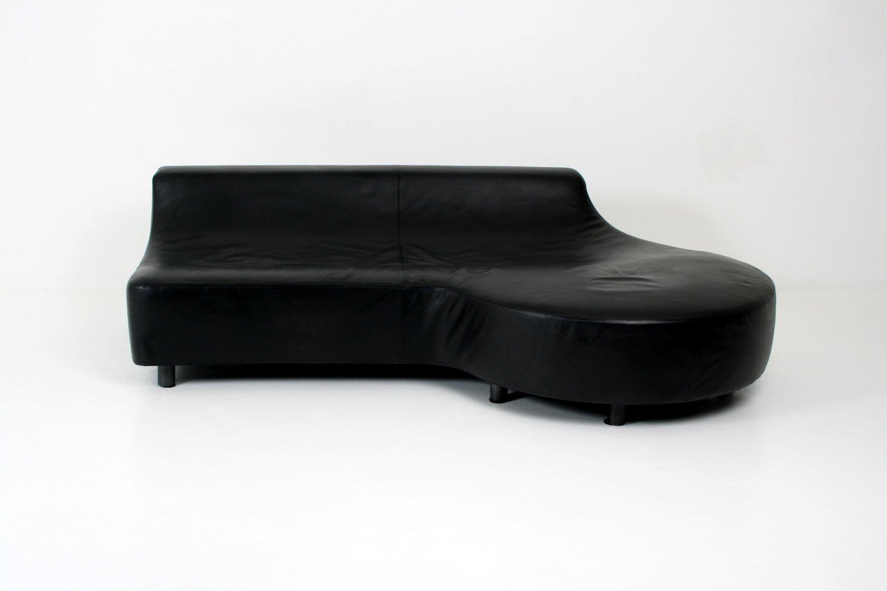 Black Leather Sofa by Rodolfo Dordini for Minotti for sale at Pamono