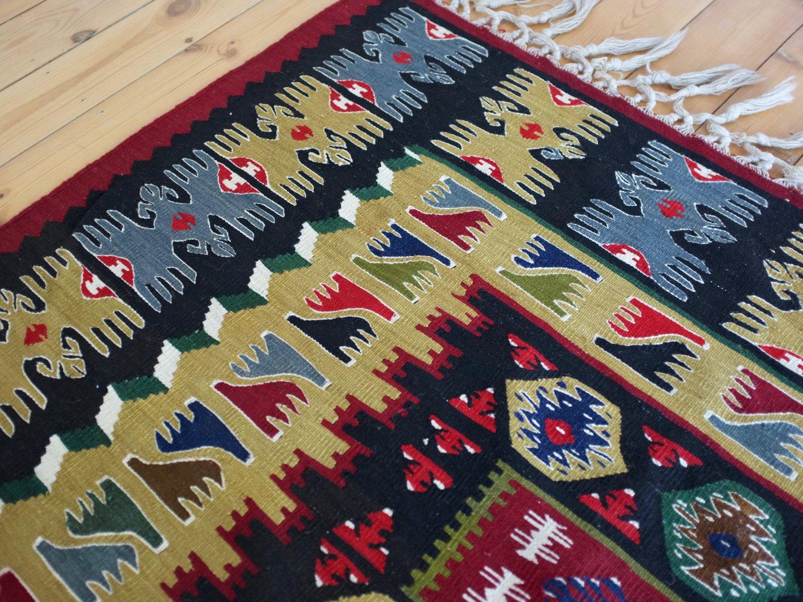 turkish handwoven sarkoy yoruks kilim rug 1950s for sale at pamono. Black Bedroom Furniture Sets. Home Design Ideas