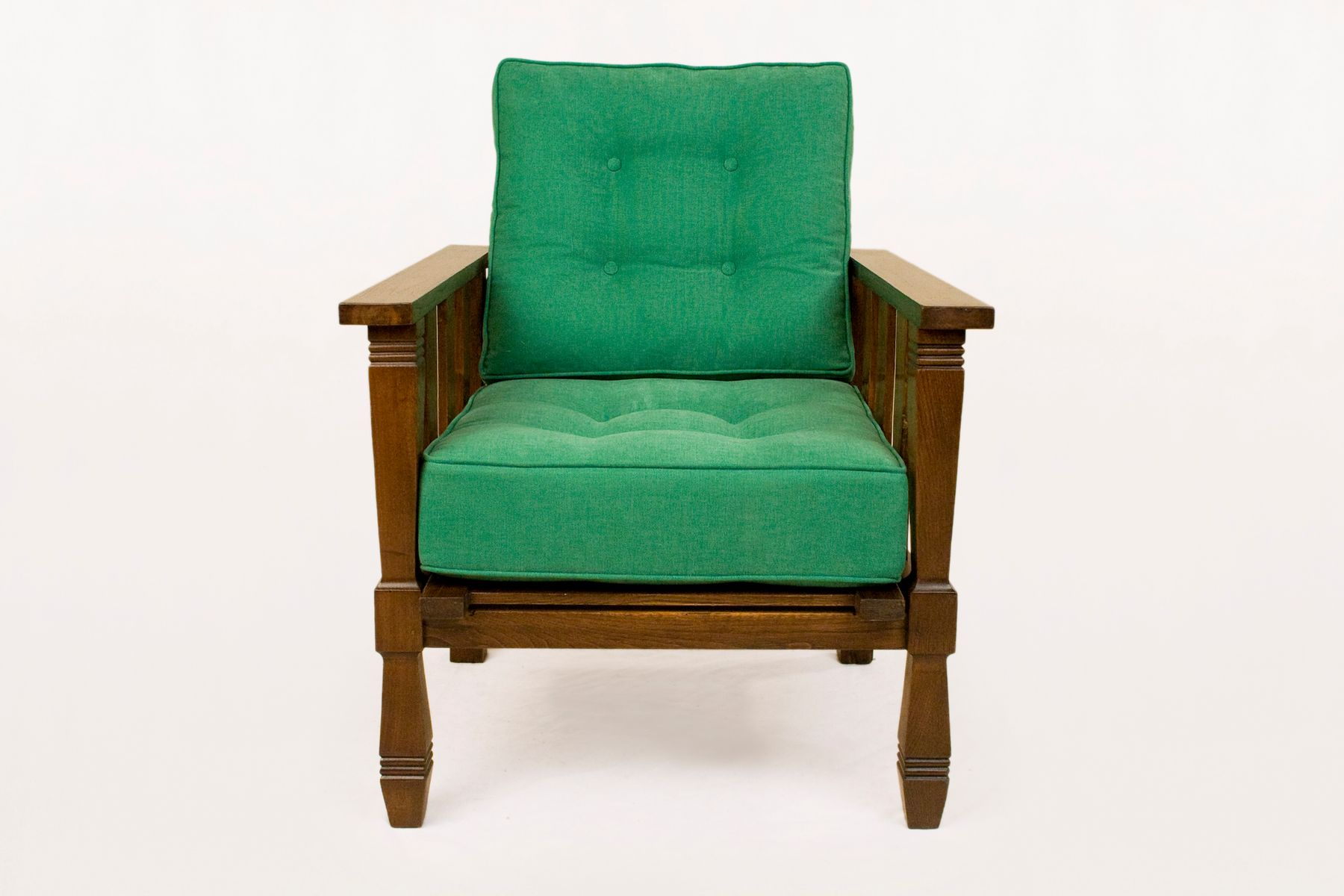 Vintage Wood And Green Arm Chairs By William Morris, 1920s, Set Of 2
