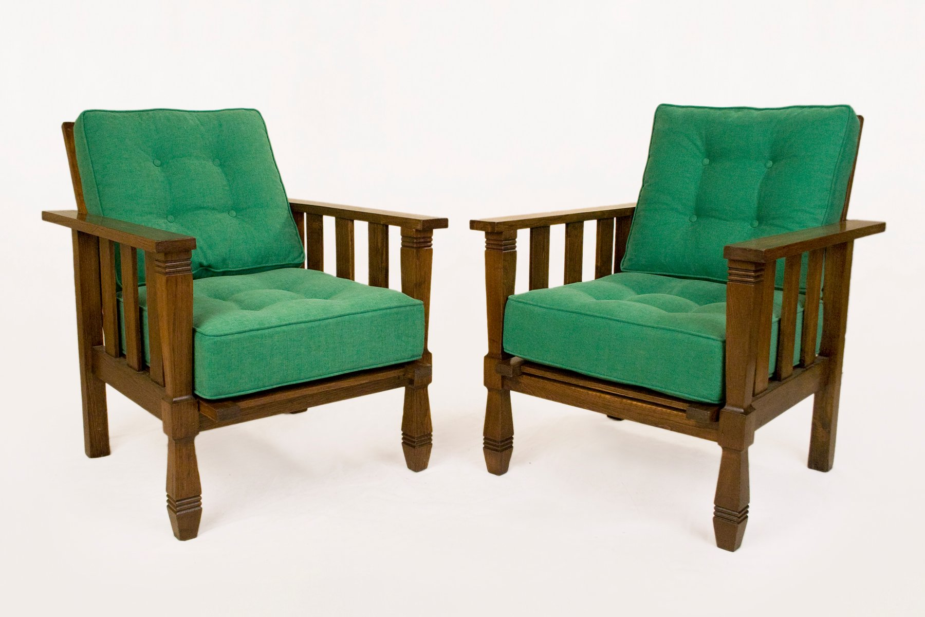 Vintage Wood And Green Arm Chairs By William Morris 1920s