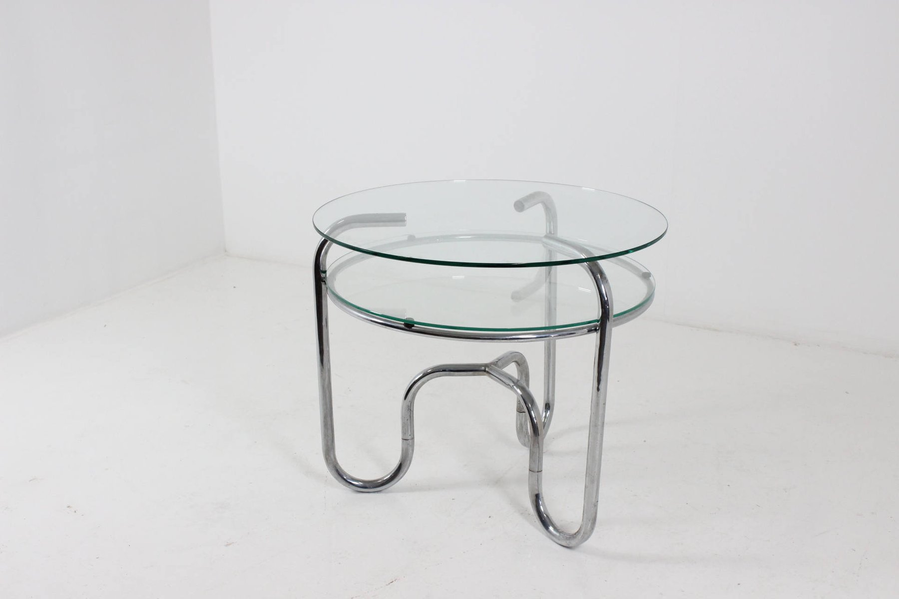 Vintage Czech Tubular Steel Chrome And Glass Table, 1930s