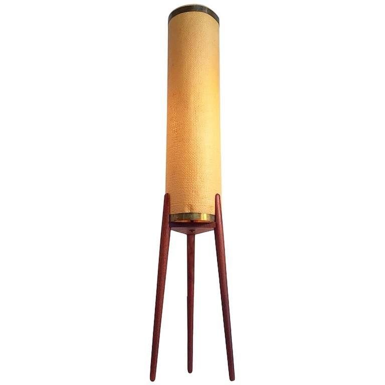 danish midcentury teak tripod floor lamp with original celluloid shade