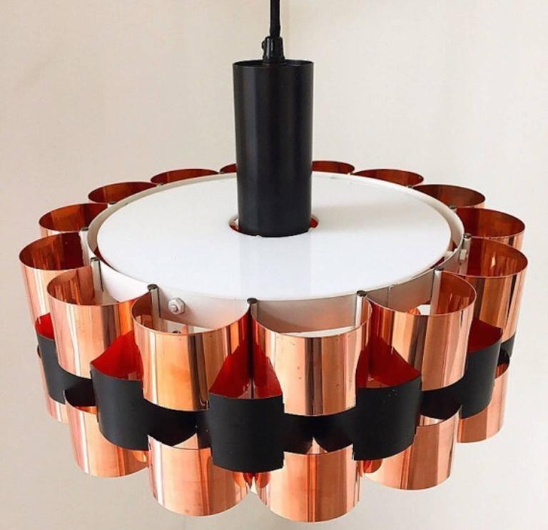 d nische mid century kupfer deckenlampe von fog and m rup bei pamono kaufen. Black Bedroom Furniture Sets. Home Design Ideas