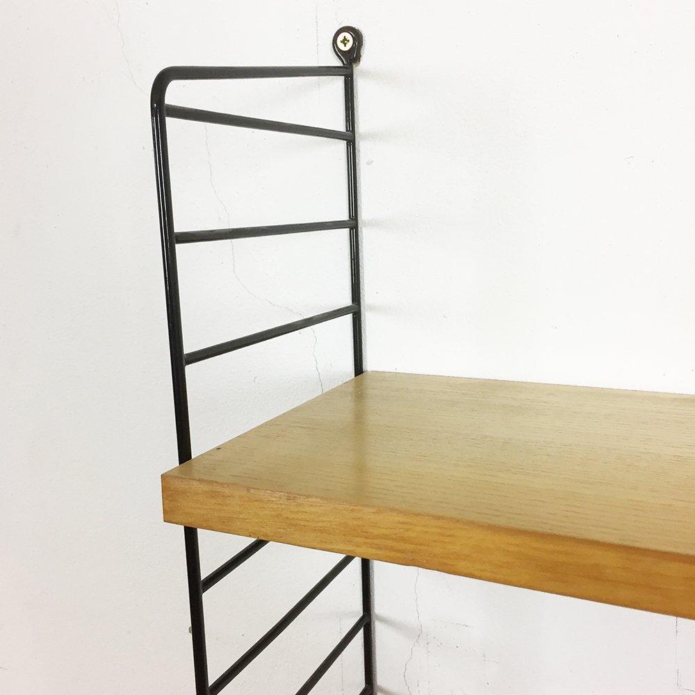 vintage regal aus eschenholz schwarzem metall von nisse. Black Bedroom Furniture Sets. Home Design Ideas