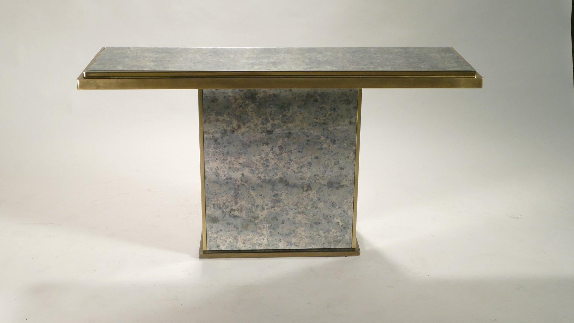 console en laiton et en miroir de belgochrom 1970s en vente sur pamono. Black Bedroom Furniture Sets. Home Design Ideas