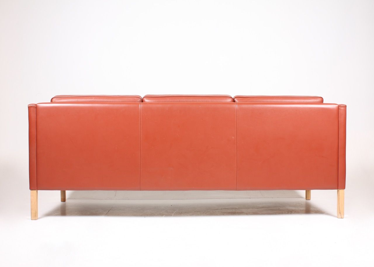 Red danish three seater leather sofa from stouby 1980s for Leather sofa 7 seater