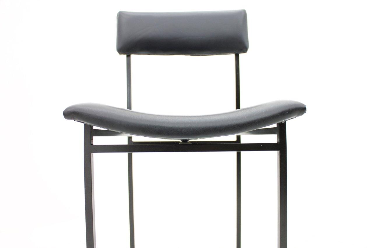 esszimmerst hle aus metall leder 1960er 4er set bei pamono kaufen. Black Bedroom Furniture Sets. Home Design Ideas