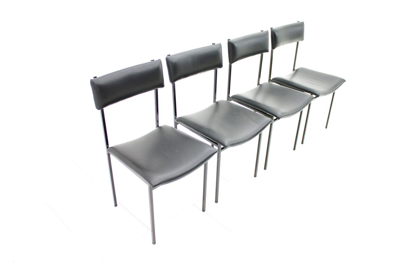 Metal und leather dining chairs 1960s set of 4 for sale for Leather and steel dining chairs