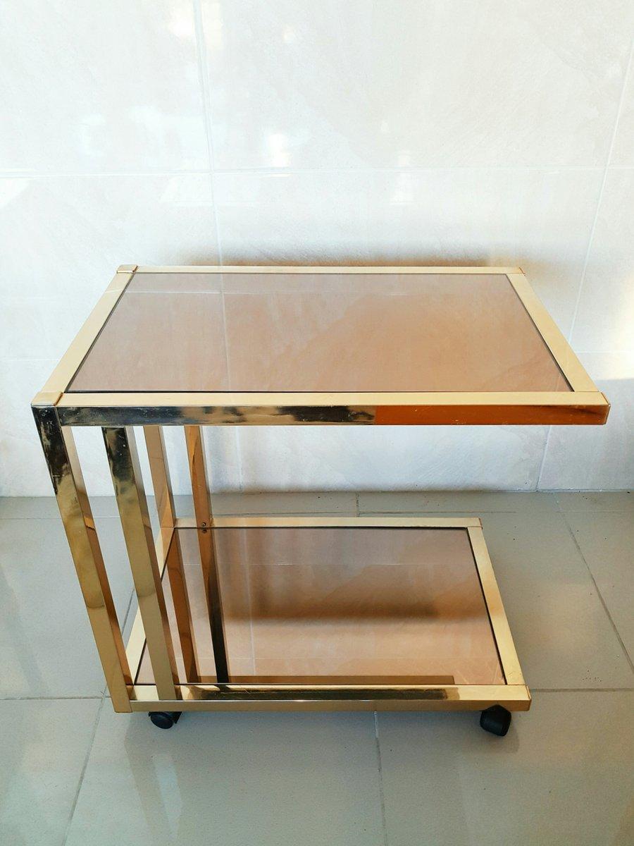 vintage chrom und glas serviertisch von roche bobois. Black Bedroom Furniture Sets. Home Design Ideas