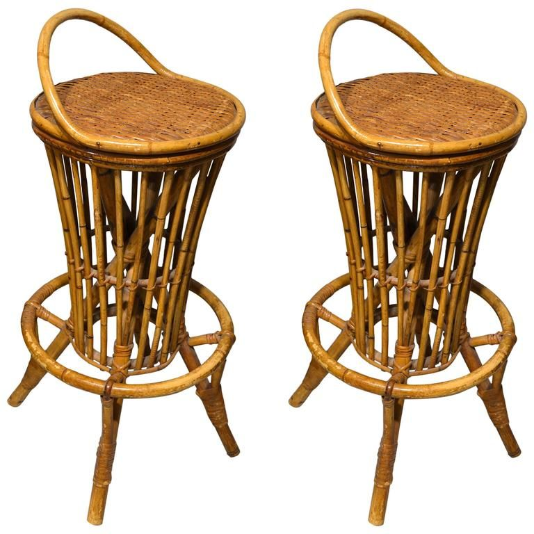 MidCentury Rattan Bar Stools 1960s Set of 2 for sale at Pamono