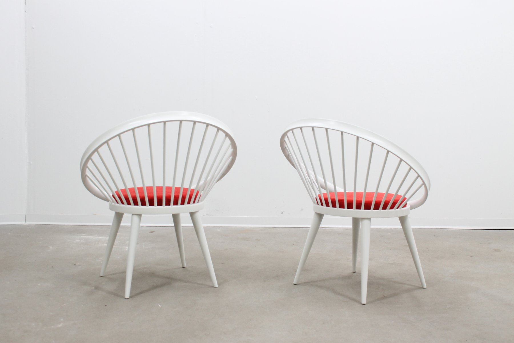 Mid Century Circle Chairs by Yngve Ekström Set of 2 for sale at