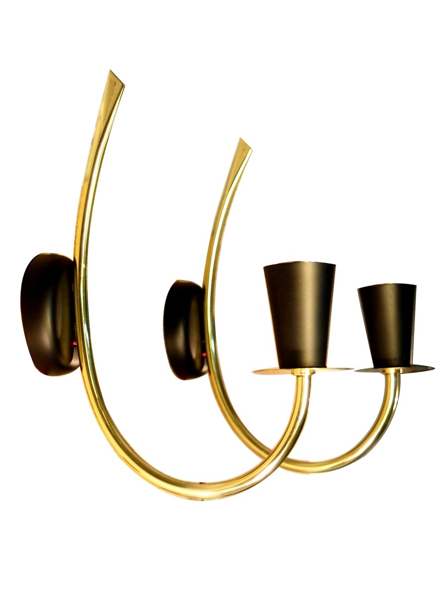 Wall Sconces Set Of 2 : Brass Wall Sconces from Arlus, Set of 2 for sale at Pamono