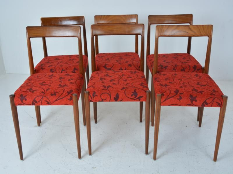 Vintage red dining chairs set of 6 for sale at pamono for Red dining chairs for sale