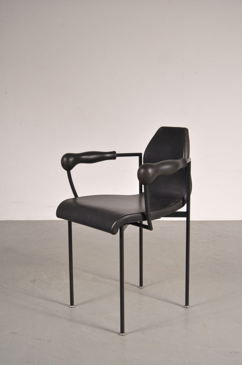 Black leather dining chairs 1980s set of 4 for sale at for Black leather dining chairs