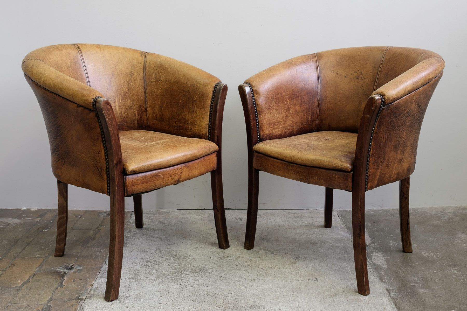 leather club chairs 1970s set of 2 - Brown Leather Club Chair