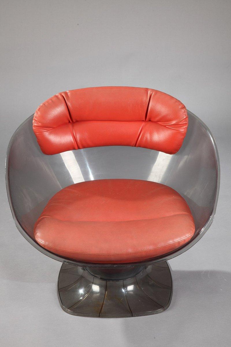 vintage sessel aus plexiglas leder von raphael raffel. Black Bedroom Furniture Sets. Home Design Ideas