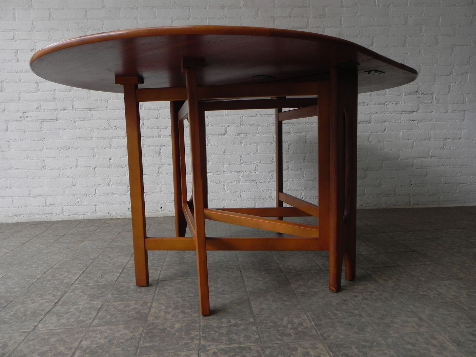 Danish Dining Table with Drop Leaf 1970s for sale at Pamono