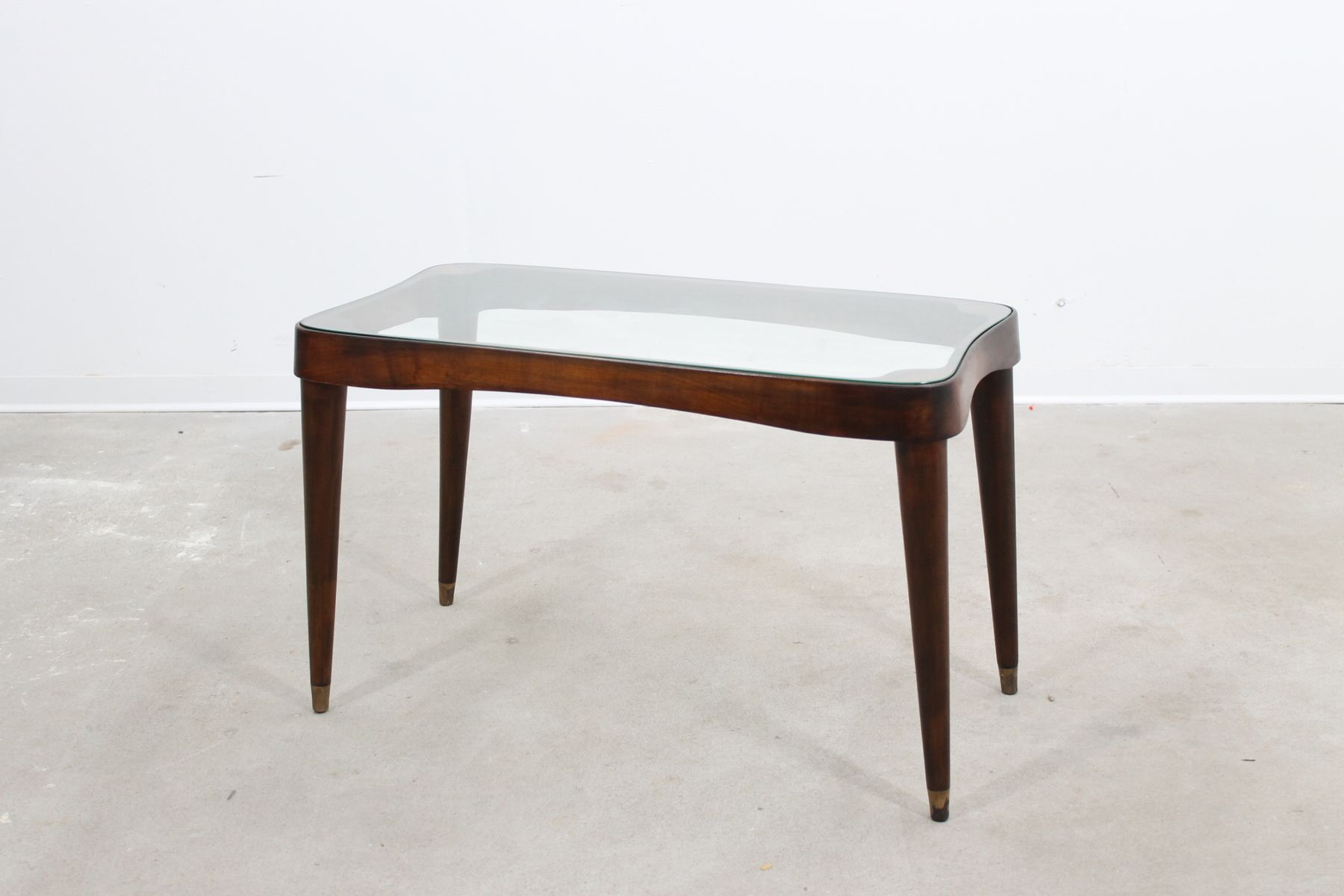 Mid Century Coffee Table with Glass Top by Gio Ponti for sale at