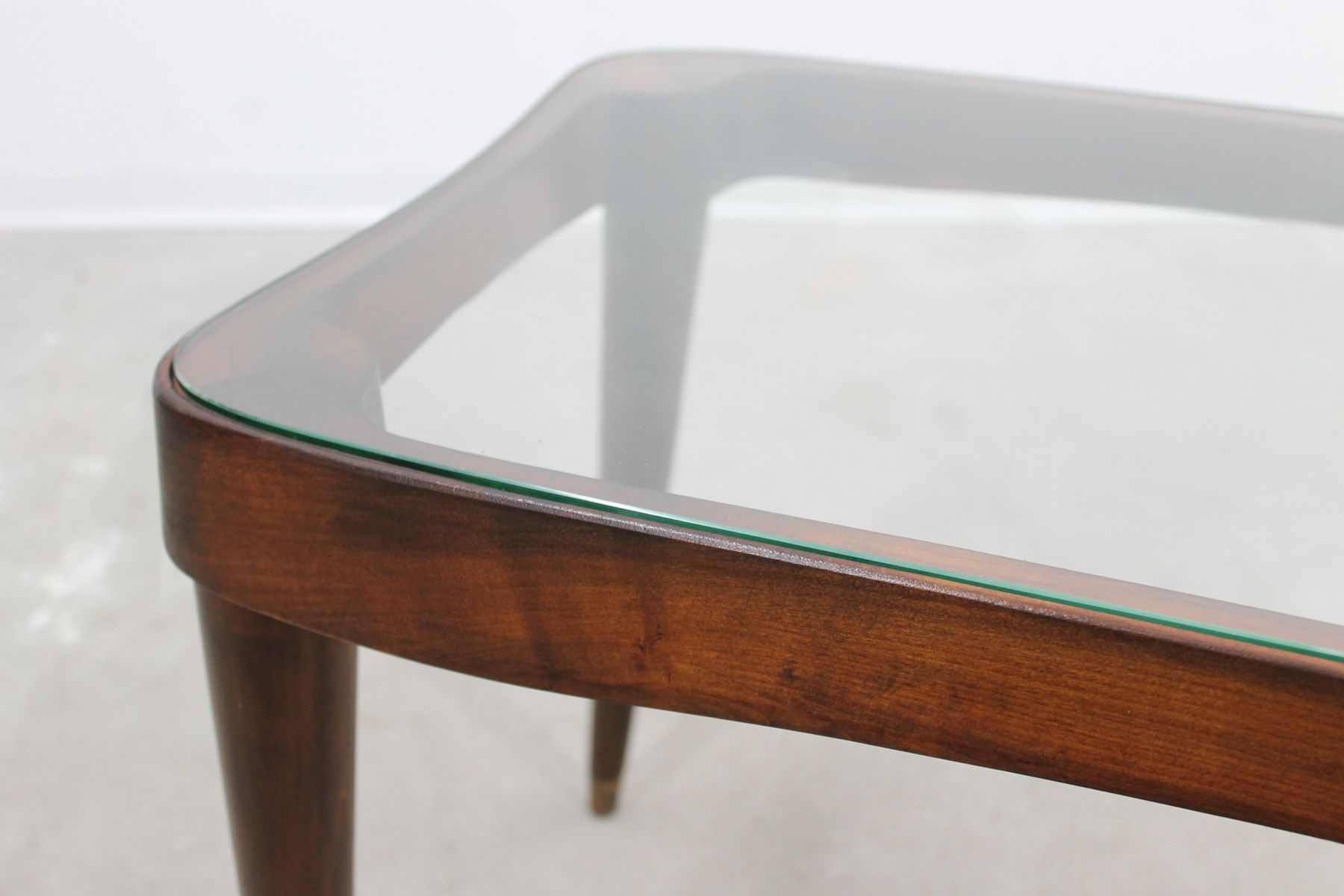 Mid Century Coffee Table With Glass Top By Gio Ponti For Sale At Pamono