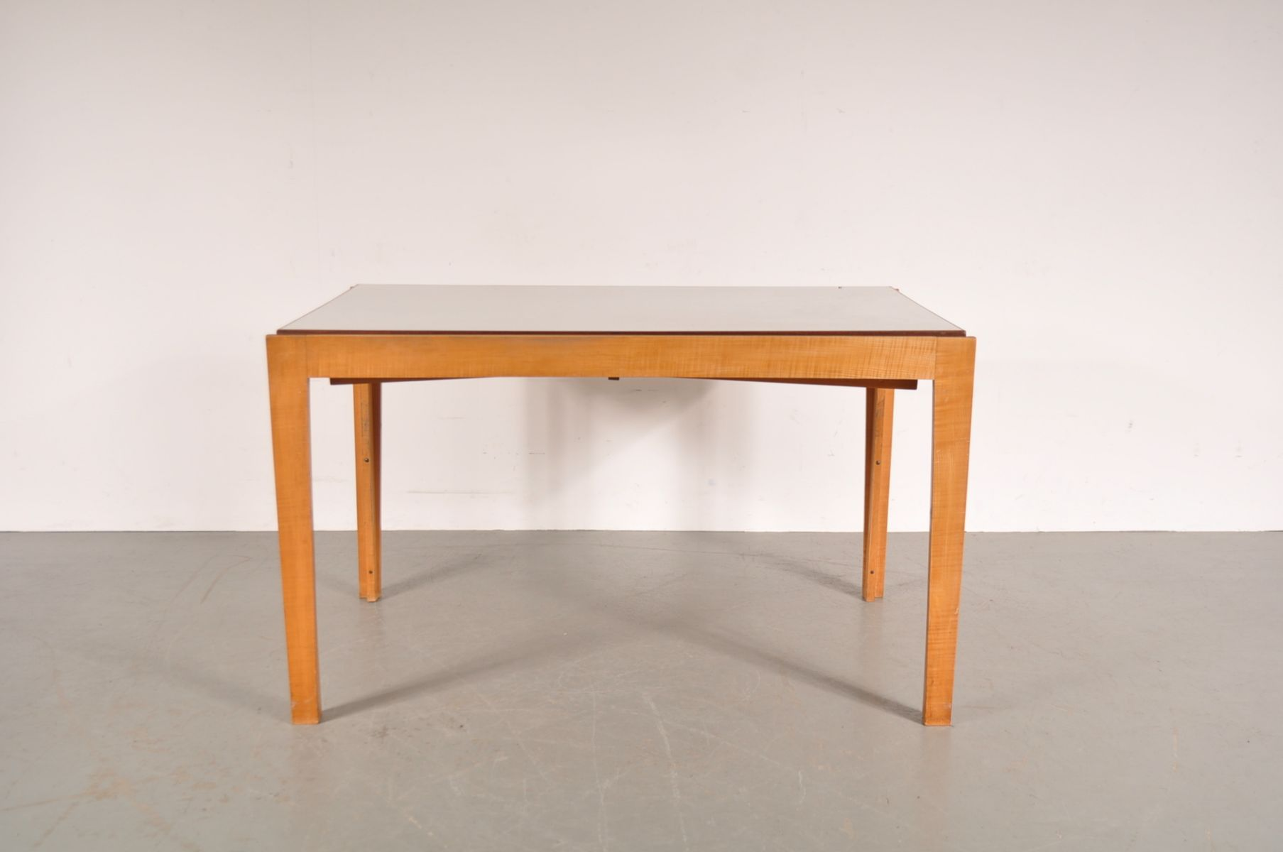 birch extendable dining table with white laminated top 1950s