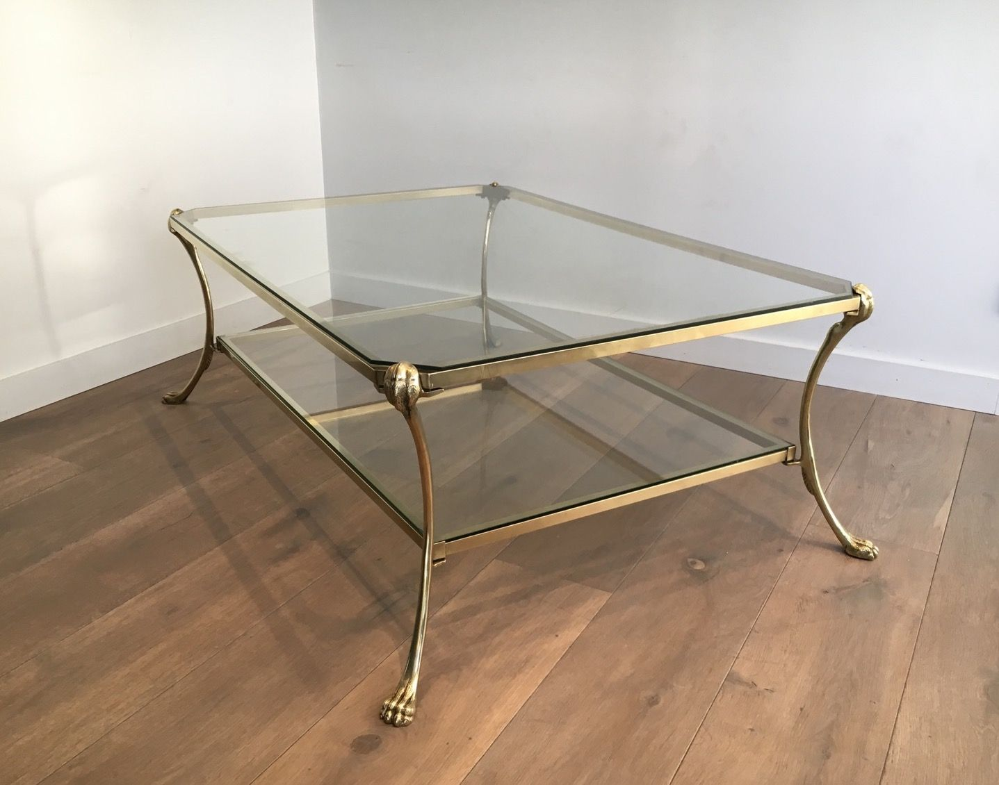 Large Vintage Brass Coffee Table With Claw Feet For Sale At Pamono