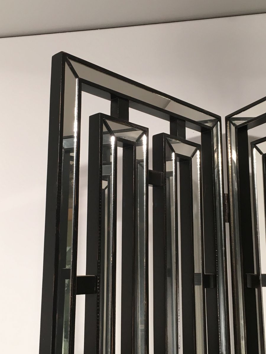 Italian black lacquered wood mirror screen 1970s for for Mirror screen