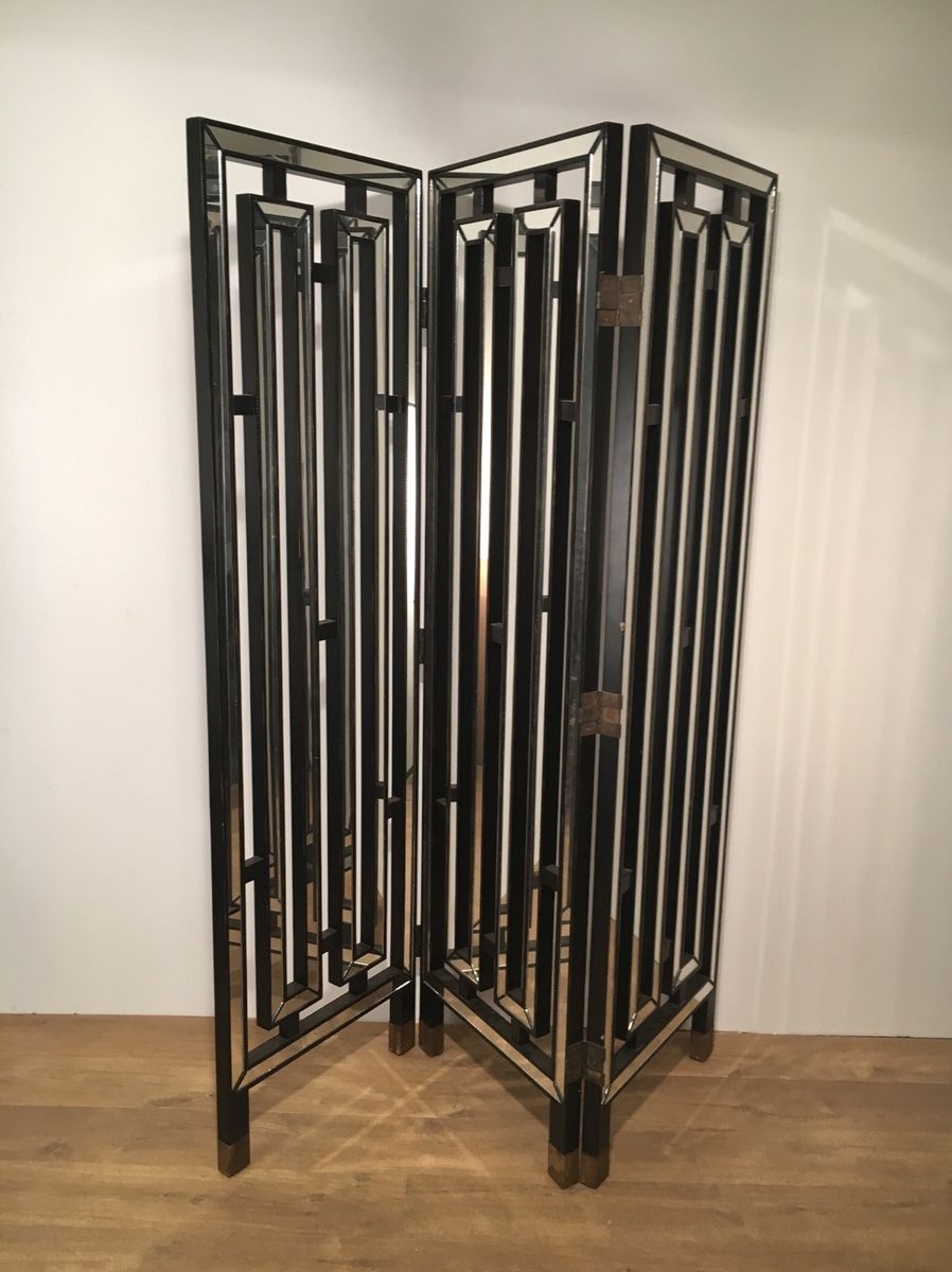 Italian black lacquered wood mirror screen 1970s for sale at pamono - Mirror screen ...