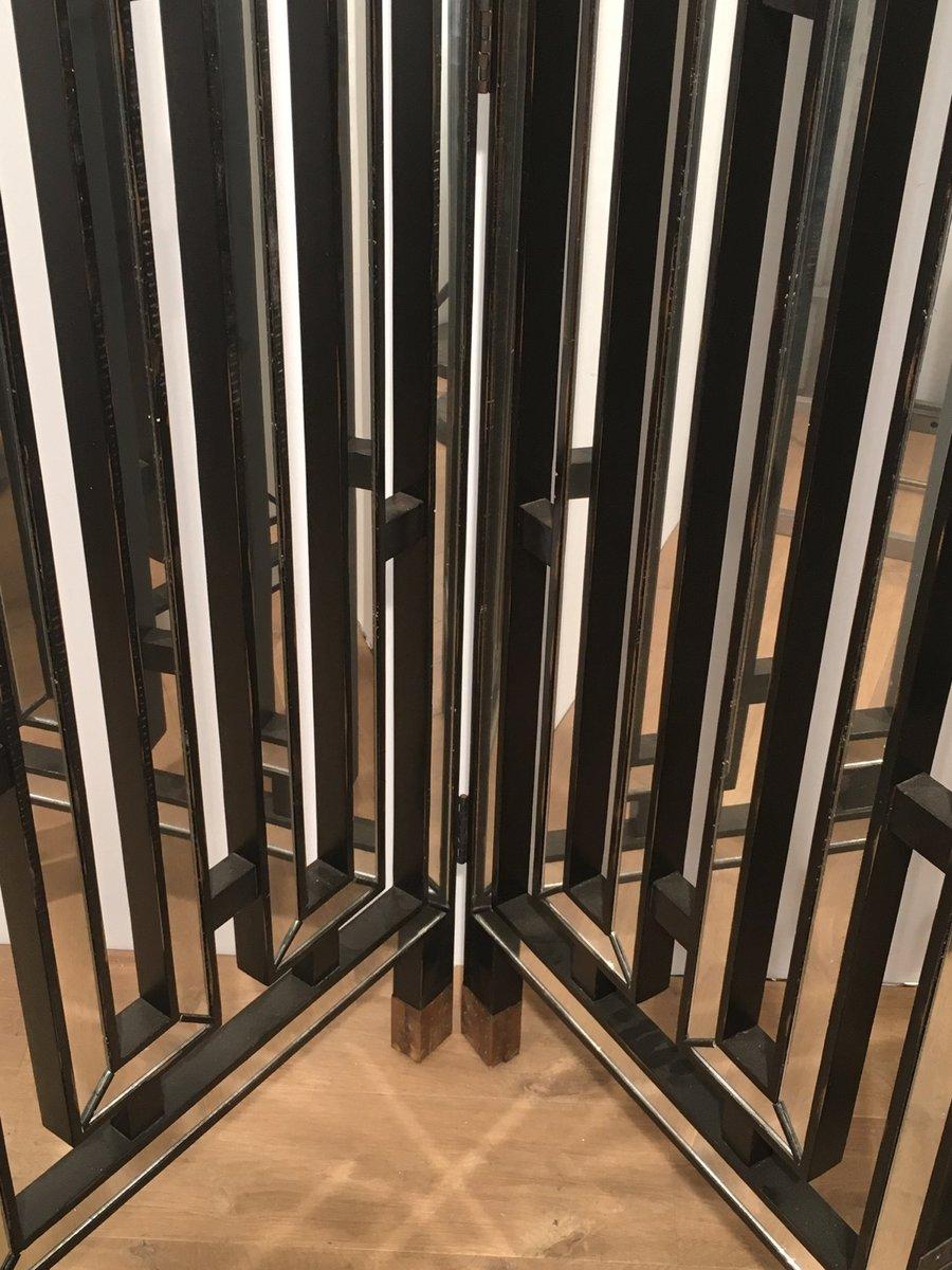 italienischer raumtrenner aus schwarz lackiertem holz spiegelglas 1970er bei pamono kaufen. Black Bedroom Furniture Sets. Home Design Ideas