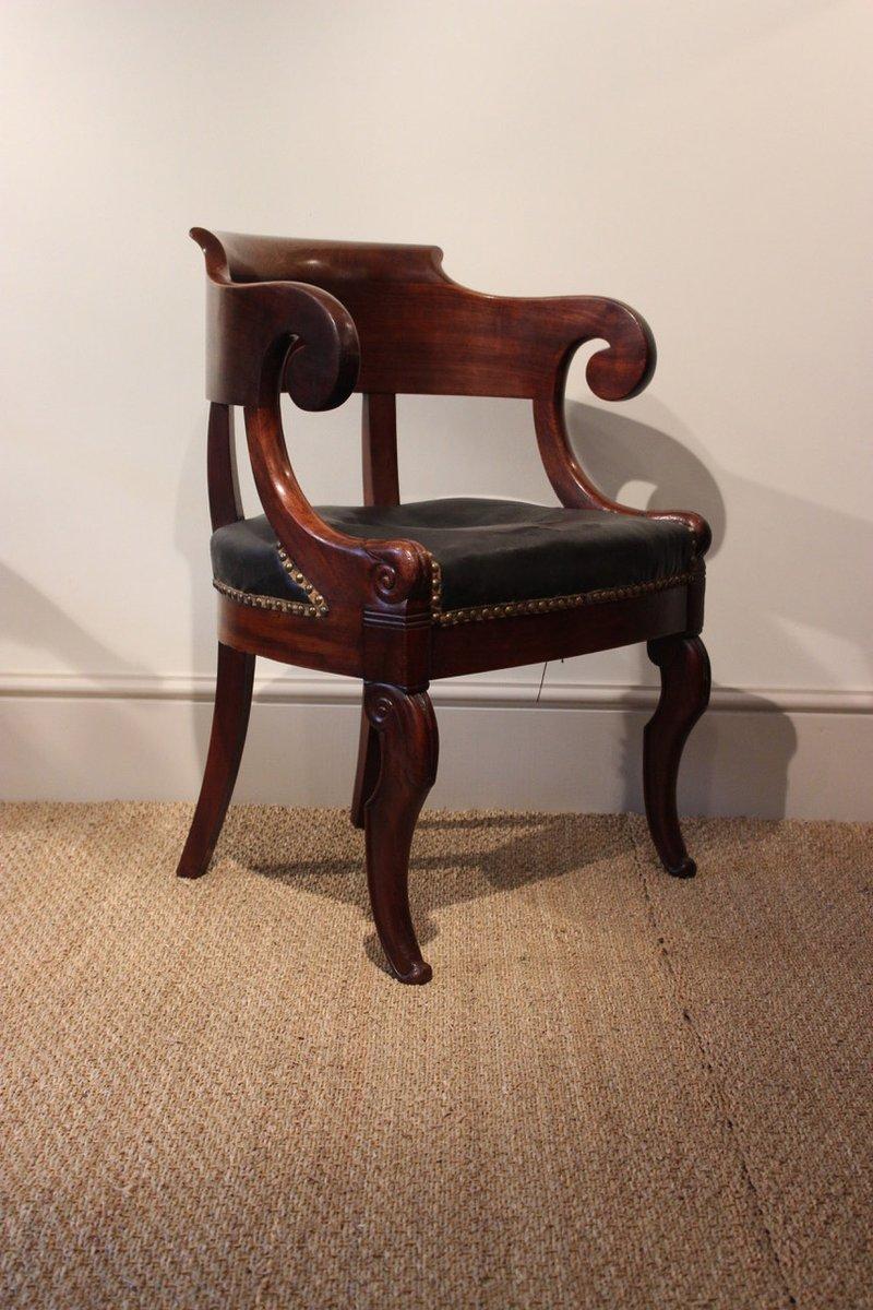 louis philippe style mahogany desk chair 1830s - Mahogany Desk