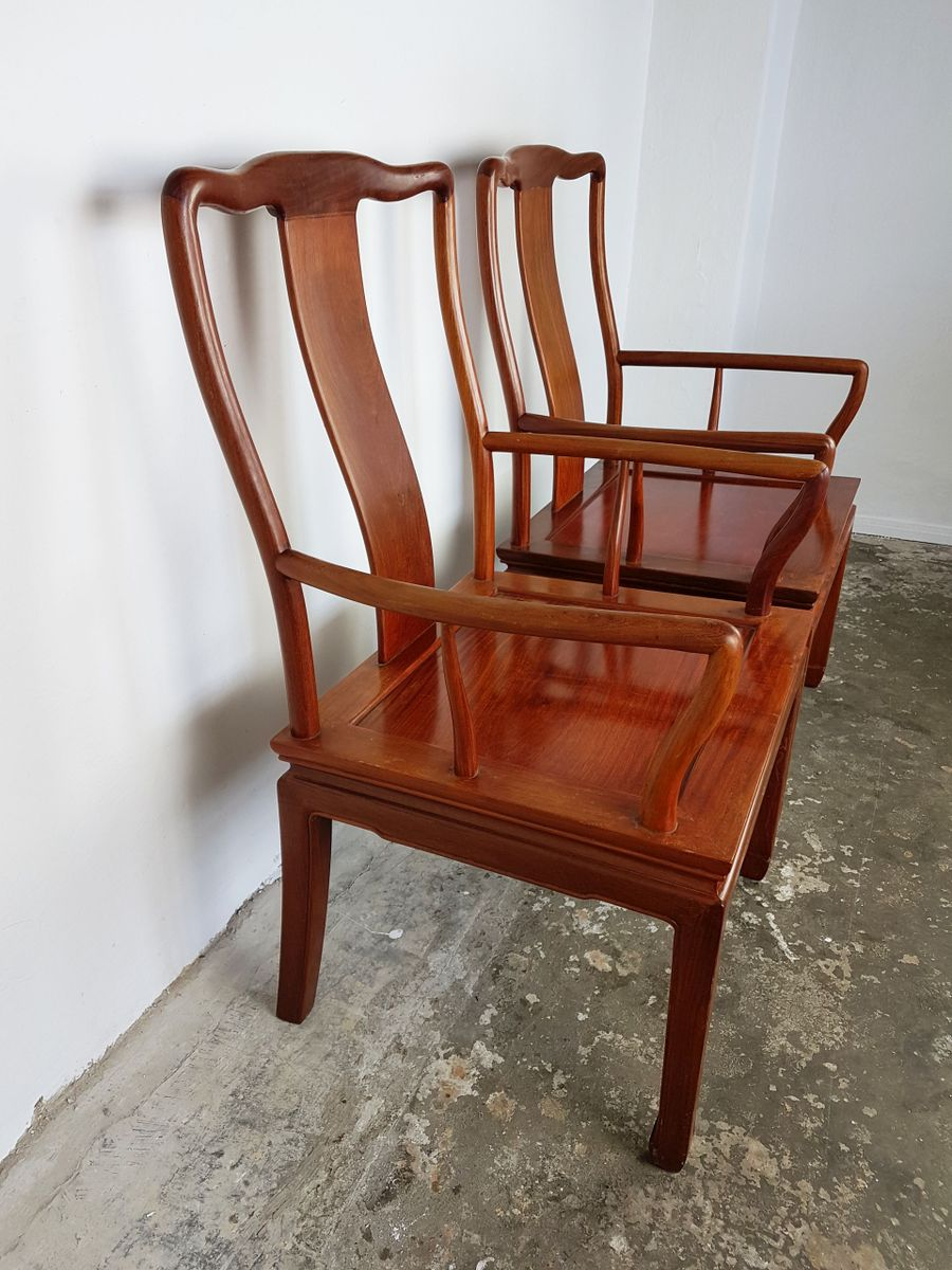 Vintage chinese rosewood desk chairs set of 2 for sale at for Asian chairs for sale